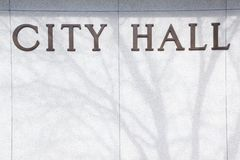 City Hall background sign Stock Photography