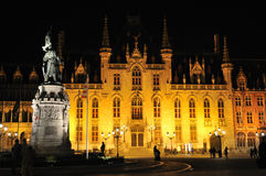 City hall, Bruges, Belgium, at night. Brugge (Bruges), Belgium Town Hall on the Burg square built 1386 Stock Photo