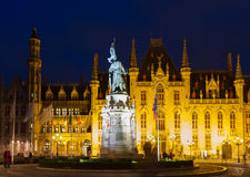 City hall of Bruges at night Stock Photos
