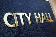 City Hall building entrance sign close up Royalty Free Stock Photo