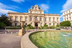 City hall building in Montpellier. Prefecture of Herault department building in Montpellier city, France royalty free stock images