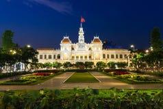City Hall building at night, Ho Chi Minh City, Vietnam Stock Photo