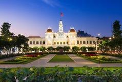 City Hall building at night, Ho Chi Minh City, Vietnam Royalty Free Stock Photos
