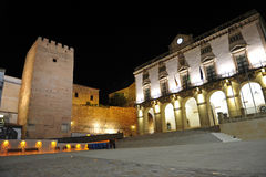 City Hall of Caceres at night, Extremadura, Spain Stock Photos