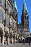 City Hall and the Cathedral of Bremen Stock Photos