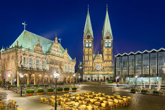 City Hall and the Cathedral of Bremen, Germany. At night Royalty Free Stock Photography