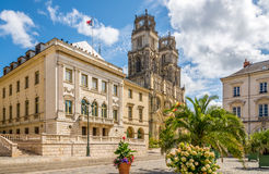 City hall with Cathedrale Sainte Croix d Orleans Stock Images