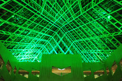 City hall ceiling interior. The interior look of the city hall in green lighting, edmonton, alberta, canada Royalty Free Stock Photo