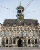 City Hall on the central square in Mons, Belgium. Gothic style City Hall and it's renaissance bell tower on the central square in Mons, capital of the Wallonian royalty free stock image