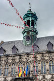 City Hall on the central square in Mons, Belgium. Gothic style City Hall and it`s renaissance bell tower on the central square in Mons, capital of the Wallonian royalty free stock photo