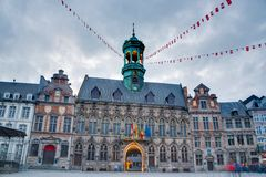 City Hall on the central square in Mons, Belgium. Gothic style City Hall and it`s renaissance bell tower on the central square in Mons, capital of the Wallonian royalty free stock photography