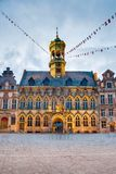 City Hall on the central square in Mons, Belgium. Gothic style City Hall and it`s renaissance bell tower on the central square in Mons, capital of the Wallonian stock photography