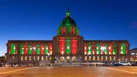 City Hall in Christmas Lights Royalty Free Stock Photos