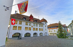 City Hall and Christmas tree and flag in Thun Square Stock Images
