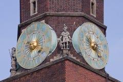 City hall clock, Wroclaw. Stock Photos