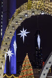 City Hall Decorations. Toroto City Hall, illuminated in purple and decorated for the Christmas season Stock Images