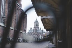 City Hall of Delft at the market square stock photography