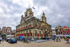 City Hall of Delft on Market square, Netherlands royalty free stock photography