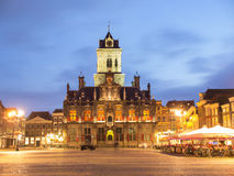 City Hall in Delft, Netherlands, At Night Royalty Free Stock Photography