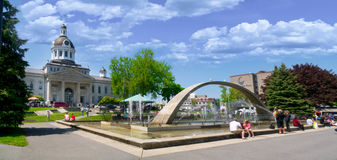 City Hall in downtown Kingston, Ontario,Canada. Panorama of City hall and fountain in the courtyard in Kingston, Ontario,Canada royalty free stock image