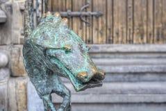 City Hall Dragon bronze railing in Mons, Belgium. Stock Photo