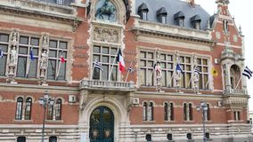 City hall of Dunkerque in France. The Town Hall of Dunkirk, in the north of France, is a century-old building. It is classified as a UNESCO World Heritage Site stock video