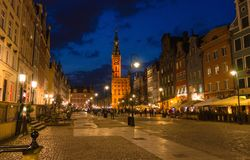City Hall at Dluga Long Market street, Gdansk, Poland royalty free stock photo