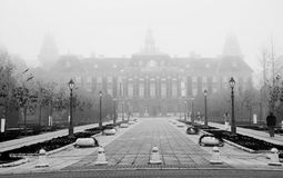 City hall in fog in Sombor,Serbia Royalty Free Stock Images