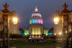 City Hall in Gay Pride Colors. Dusk over San Francisco City Hall illuminated in rainbow colors for the Pride Festival royalty free stock image
