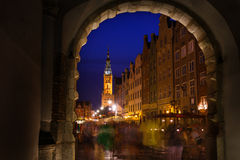 City Hall of Gdansk during the holiday fair Royalty Free Stock Images