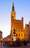 City hall of Gdansk at night Stock Photos