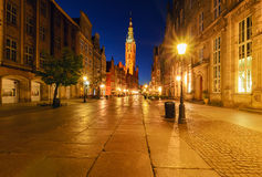 City hall of Gdansk at night, Poland Royalty Free Stock Photography