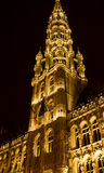 City Hall, Grand Place, Brussels: the tower Royalty Free Stock Photo