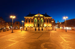 City Hall in Groningen at night. City Hall in Groningen cityscape at night Stock Photos
