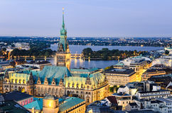City Hall of Hamburg, Germany. Aerial view of the City Hall of Hamburg, Germany Royalty Free Stock Photography