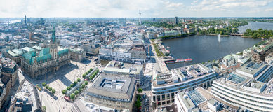 City Hall of Hamburg. Germany, Hamburg, Hamburg City Hall from the perspective of church tower , view of the Alster , the town hall square , Elbe. Panorama stock photo