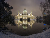 City Hall of Hannover, Germany at Winter by night Royalty Free Stock Images