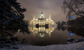 City Hall of Hannover, Germany at Winter by night Stock Images