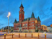 City Hall of Helsingborg in the evening Royalty Free Stock Photos