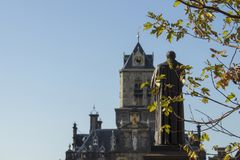 City Hall, Hugo Grotius Statue, Grote Market, Delft, The Netherlands royalty free stock photography