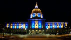 City Hall illuminated with blue and yellow projectors, San Francisco, California, USA, stock video