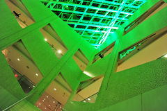 City hall interior. The interior look of the city hall in green lighting, edmonton, alberta, canada Royalty Free Stock Photo