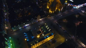 City Hall of Kolobrzeg, night view from above stock video footage