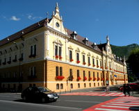 City Hall. Landscape in the old town Brasov (Kronstadt), in Transilvania. Stock Photo