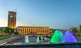 The city hall of Le Havre with a fountain. France. Normandy royalty free stock photography