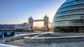 City Hall London and tower bridgw Royalty Free Stock Images