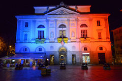 City Hall of Lugano turned on the light with french color Stock Photo