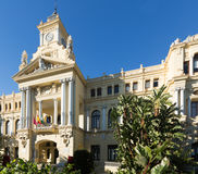 City hall of Malaga in sunny day Stock Photos