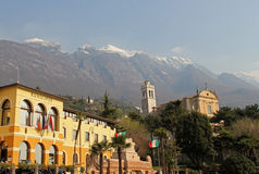 City Hall in Malcesine with Monte Baldo, Lake Garda, Italy Royalty Free Stock Photography