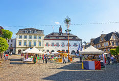 City Hall and market on Marktplatz in Linz am Rhein Stock Images